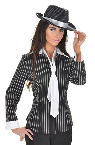 Underwraps Women's Plus-Size Gangster Fitted Shirt, Black/White, 3X-Large for $<!--$38.98-->