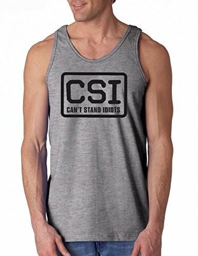 Can't Stand Idiots - Funny Tank Top by Cherrybargains- Gray - M