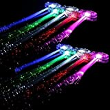 Taousa 70164 80pcs LED Finger Lights + 12pcs LED Fiber Flashing Braid Hair Barrettes, Party Supplies