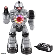 Memtes® Remote Control Robot Police Fighting Toy, Shoots Fake Bullets, Lights and Sound, Walks and Turns