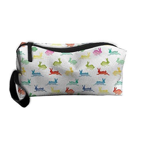 Jessent Coin Pouch Rabbit Pattern Pen Holder Clutch Wristlet Wallets Purse Portable Storage Case Cosmetic Bags Zipper ()