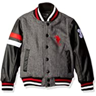 US Polo Association Little Boys' Fashion Outerwear Jacket, Heather Grey/Black, 5/6