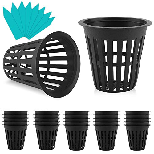 Gaishi 25 Pack Nursery Pots, 2 inch Net Pot, Garden Slotted Mesh Plastic Plant Net Cup with 25 Plant Labels, Heavy Duty…