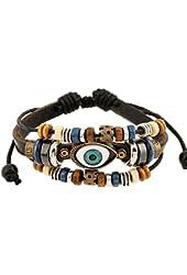 Bluegrass Charm Blue Eyes Multistrand Leather Braided Handmade Adjustable Bracelet