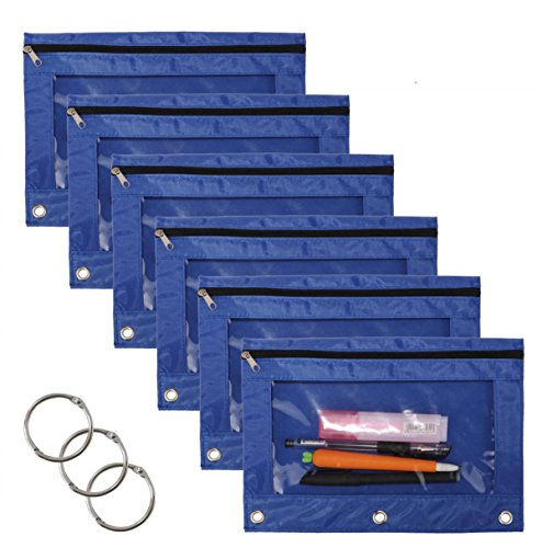 WODISON 3-Ring Pen Pencil Pouch with Clear Window Stationery Bag Binder Case Classroom Organizers 6-Pack (Blue) ()