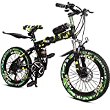Children's Bicycle 7-14 Years Old 20 Inch Folding Mountain Bike Double Disc Brakes Damping Variable Speed Bike (Color : Camouflage Green)