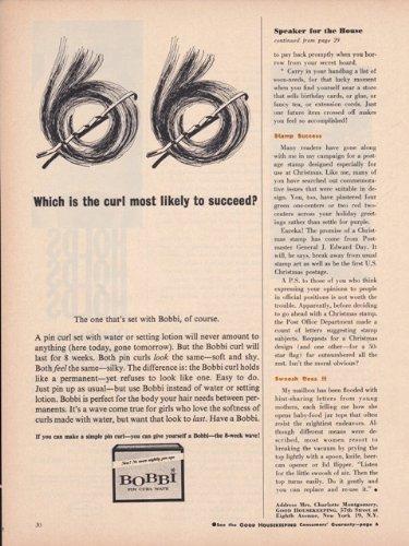 Bobbi Pin Curl Wave Permanent Hair Care 1962 Vintage Antique Advertisement