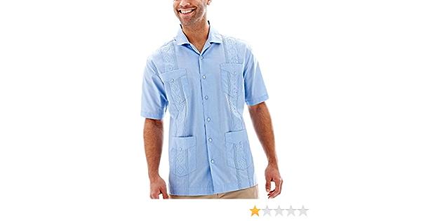Manga corta camisa Havanera hombres Guayabera, Blue Bell, gran
