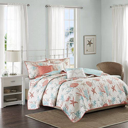 Madison Park - Pebble Beach 6 Piece Quilted Cotton Coverlet Set - Coral & Teal - Full/Queen - Coastal Theme - Includes 1 Coverlet, 2 Shams, 3 Decorative Pillows