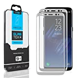 SOJITEK Samsung Galaxy S8 Screen Protector, 2 Pack, Full Coverage 3D Tempered Glass (Sticks well to sides / No Loss of adhesive) - Silver