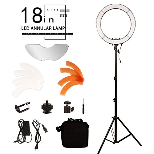 YBLMYWLW 18 inch 240 LEDS Ring Light Kit Dimmable Camera Video Portrait Movie Selfie Live Photography Fill Light,Makeup Lamp,Light Stand and Bag for Makeup & Youtube