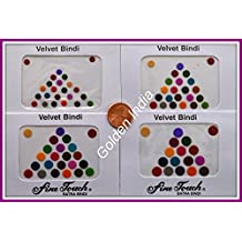 Multi-color Velvet Dot Bindi Tattoo Assorted Colors 75 Stickers Adhesive Body Jewelry By Golden India P51