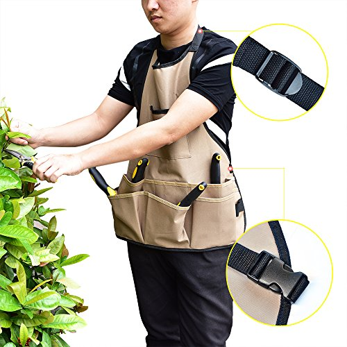 BOJECHER Tool Apron - Professional Heavy Duty Work Apron with 14 Tool Pockets and Adjustable Belt Water-resistant Gardening Woodshop Aprons for Men & Women, Carpenters Bakers and Machinists by BOJECHER (Image #6)