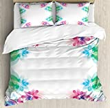 Flower Duvet Cover Set King Size by Ambesonne, Abstract Petals with Digital Hazy Reflections Bridal Buds Exquisite French Style Pattern, Decorative 3 Piece Bedding Set with 2 Pillow Shams, Multi