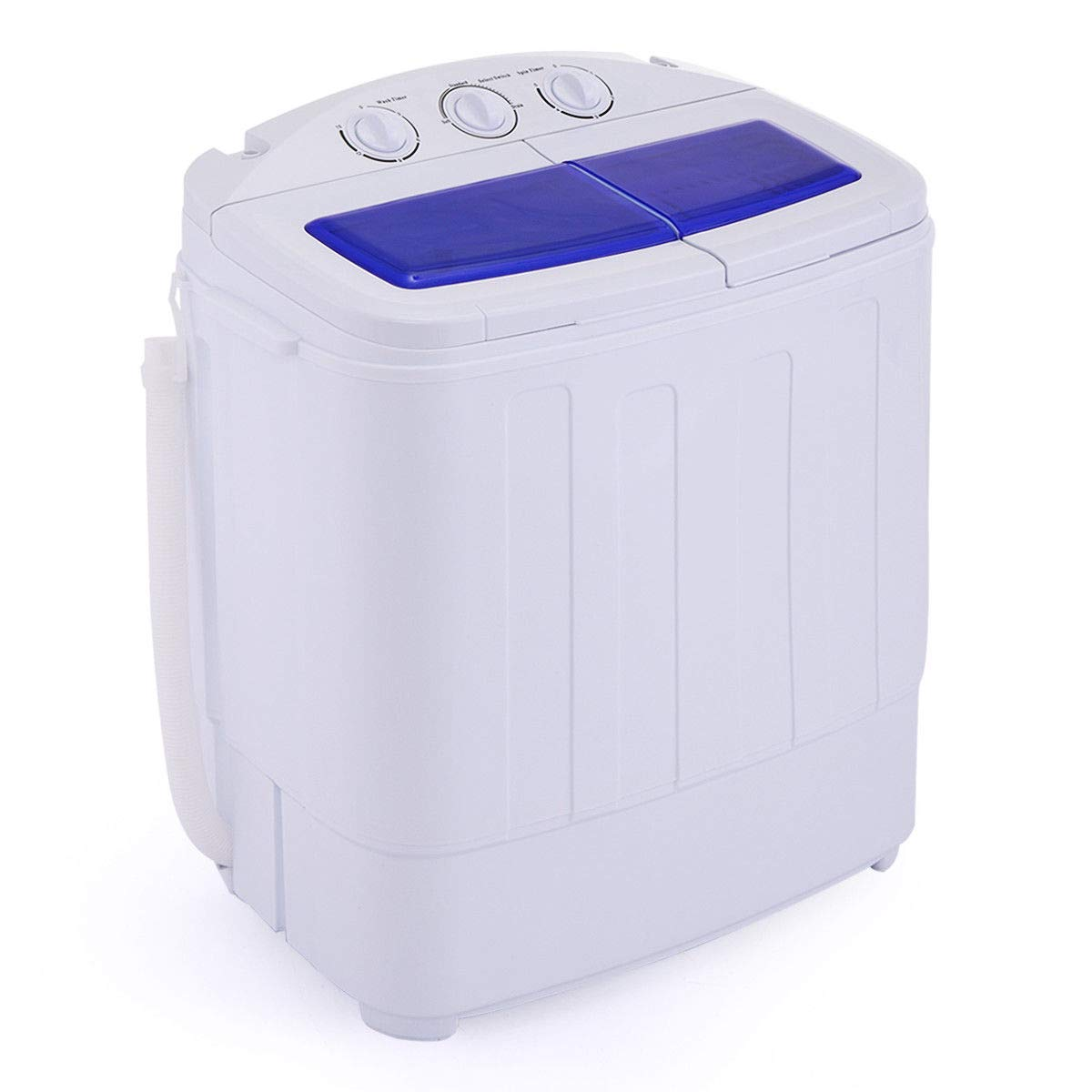 LAZYMOON Mini Portable Washing Machine Twin Tub 12.8 lbs Capacity Compact Wash Spin Dry Cycle Laundry
