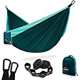 AnorTrek Camping Hammock, Super Lightweight Portable Parachute Hammock with Two Tree Straps (Each 5+1 Loops), Single & Double Nylon Hammock for Camping Backpacking Travel Hiking (Blue&Dark Blue)