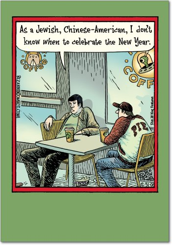 Jewish Chinese American - Box of 12 Happy New Year Greeting Cards with Envelopes (4.63 x 6.75 Inch) - Multi Cultural Celebration, Funny Cartoon Card - Hilarious Coffee Conversation Notecards B1984