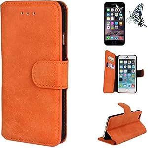 Mobilefashion Funda de PU Cuero Case para Apple iPhone 6 Plus 5.5 inch (Naranja) Con Soporte Plegable y Ranura para tarjeta + 1x protector de pantalla gratis