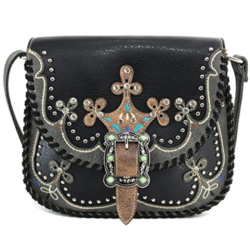 Only Cross Tribal West Floral Spring Body Native Moccasin Justin Messenger Messenger Strap Black Purse Buckle Uqx6wHZBz