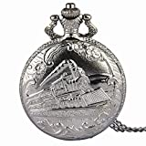Picvadee Unisex Antique Case Vintage silver RIB Chain Quartz Pocket Watch Train NT003