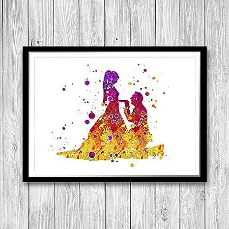 Rac76yd Acuarela ilustración de novia y novio en acuarela, hermoso póster para boda, matrimonio, regalo romántico para novia de hermana