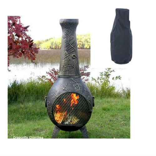 QBC Bundled Blue Rooster Dragonfly Wood Burning Chiminea ALCH014GA-TBRCC600L (52 inch H x 22 inch W) Gold Accent Color with Large Cover – Plus Free QBC Metal Chiminea eGuide