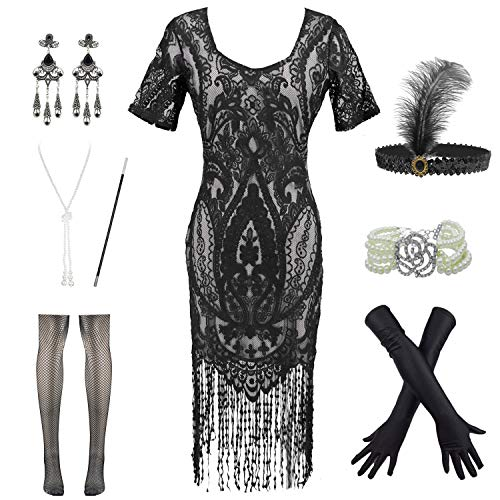 Womens Vintage Lace Fringed Gatsby 1920s Cocktail Dress with 20s Accessories Set (M, Black)]()