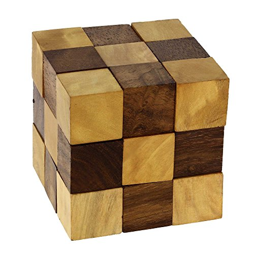 ShalinIndia Wooden Puzzle Adult Snake Cube Handmade Gifts India 2.5x2.5x2.5 Inch Unique Gifts For Kids And (Handmade Snake)