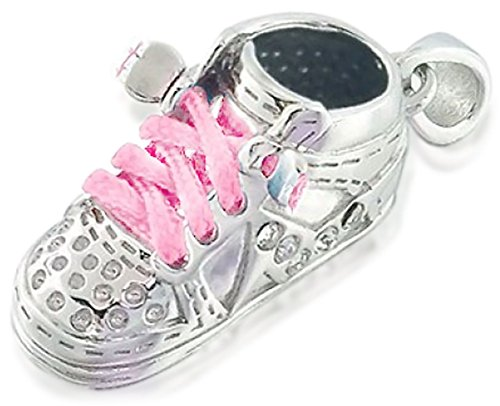 Bootie Necklace Baby - Sneaker Baby Shoe Charm Engravable Pendant Gift for New Mother Women Pink Laces 925 Sterling Silver
