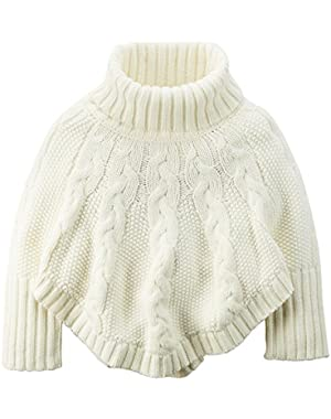 Little Girls' Cable Knit Poncho Sweater (3T, Ivory)