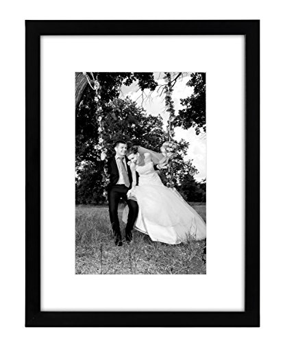 12×16 Black Picture Frame – Matted to Fit Pictures 8×12 Inches or 12×16 Without Mat – Glass Front – Hanging Hardware Included