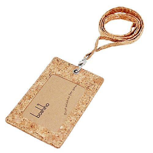 Eco Friendly Natural (Cork Badge Holder, Boshiho Vertical Style Eco-friendly Natural Cork Name ID Card Holder with Lanyard (Cork))