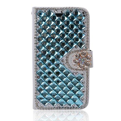 "HYAIT[Card Slot] [Kickstand] 3D Bling Crystal Handmade Diamond Leather Wallet Magnet Flip Folio Case for LG Ray X190 (5.5"") -Blue"