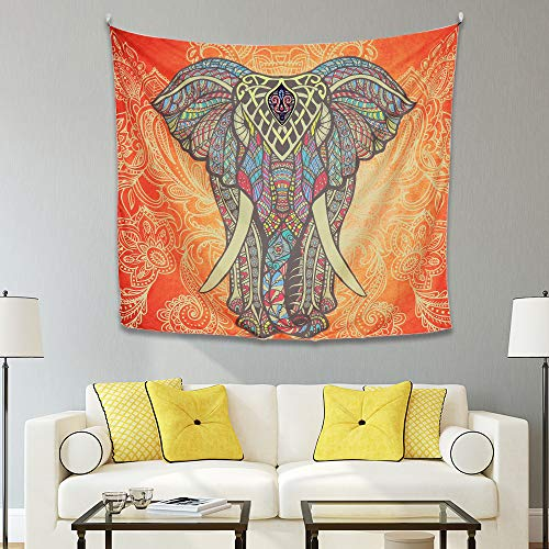 Y&M Design Elephant Tapestry Wall Hanging Ombre India Mandala Tapestry Bohemian Psychedelic Wall Hippie Multicolor Flower Psychedelic Tapestry for Bedroom Living Room Dorms