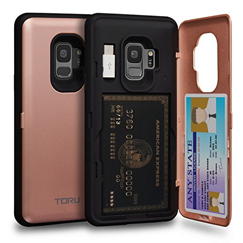 TORU CX PRO Galaxy S9 Wallet Case Pink with Hidden Credit Card Holder ID Slot Hard Cover, Mirror & USB Adapter for Samsung Galaxy S9 - Rose Gold