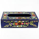 Rectangle Wood Tissue Box Cover, Tissue Box Holder, Tissue Holder, Tissue Cover, TISSUE BOX, Wooden Napkin Holder, Elegant Tissue Box Décor, Outside Size: 10 inch, Blue Floral Handpainted