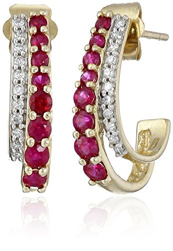 14K-Yellow-Gold-Ruby-Round-with-Diamond-Earrings
