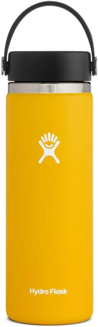 Hydro Flask Water Bottle - Stainless Steel & Vacuum Insulated - Wide Mouth 2.0 with Leak Proof Flex Cap - 20 oz, Sunflower