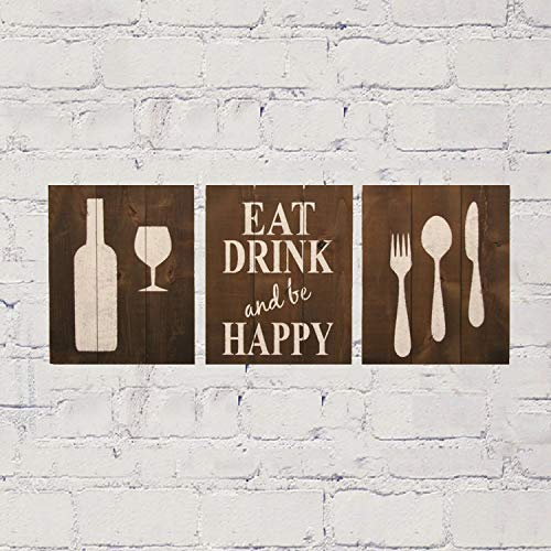 Bevis554Yule Dining Room Wall Decor Kitchen Wall Decor Wood Dining Room Sign Eat Drink and Be Happy Rustic Dining Room Pallet Sign Fork Knife Spoon 12 by 16 inches Each.