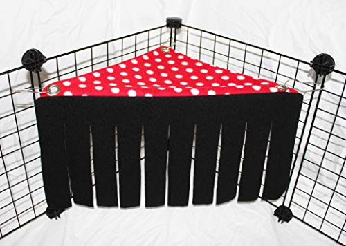 Corner Fleece Forest Hideout for Guinea Pigs, Ferrets, Chinchillas, Hedgehogs, Dwarf Rabbits and Other Small Pets (Black/Red with White Polka Dot) ()