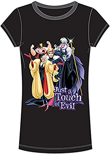 Villian Tee - Disney Classic Villians 'Just a Touch of Evil' Women's / Girls Slim Fit T Shirt Top - Black Purple M