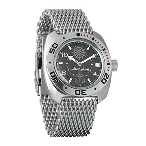 VOSTOK Amphibian Zissou Brand New Automatic Russian Mens Wrist Watch MESH Bracelet WR 200 m Amphibia Diver #710526 ()