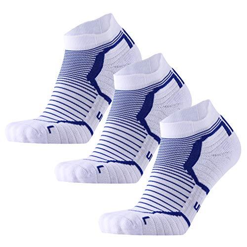 Blister Resist Cushion No Show Running Socks for Men and Women Moisture Wicking (White X 3, US Women7-10/US Men6.5-8.5)