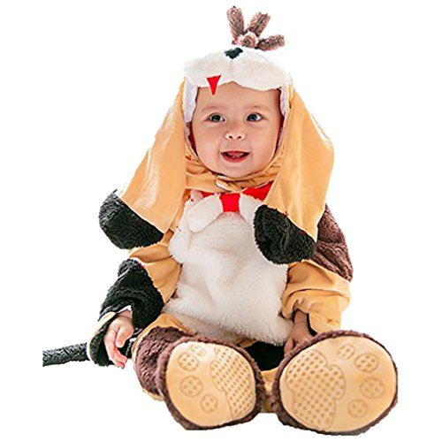 Baby Footies Romper Jumpsuit Halloween Cute Dog Hooded Bodysuit Costume Outfit (Size:66CM For 6 Months baby, (The Creeper Studio Halloween Costume)
