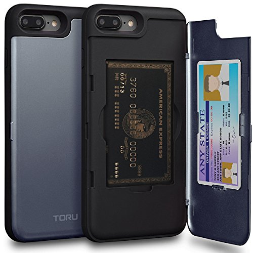TORU CX PRO iPhone 8 Plus Wallet Case Blue with Hidden ID Slot Credit Card Holder Hard Cover & Mirror for iPhone 8 Plus/iPhone 7 Plus - Orchid Gray