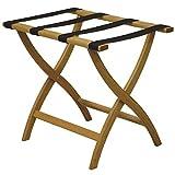 Wooden Mallet Designer Curve Leg Luggage Rack,Brown Straps, Medium Oak
