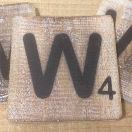 Letras decorativas de madera, con diseño de Scrabble, tamaño cuadrado de 10 x 10 cm aprox. Talla:W: Amazon.es: Bebé