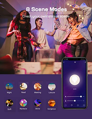 TECKIN Smart Light Bulb, E26 WiFi LED Bulbs Work with Alexa, Google Home (No Hub Required), Dimmable RGBW 7.5W (75W Equivalent),16 Million Colors Changing, 800 Lumen, 2700K-6500K, 2 Packs