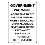 Vertical Government Warning: According to The Label Decal, 5x3.5 in. 4-Pack Vinyl for Alcohol/Drugs/Weapons by ComplianceSigns