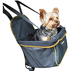 DOG for DOG Puppy Booster Car Seat Cover for Small Dogs and Puppies - Portable, Foldable, Collapsable Pet Car Carrier with Safety Leash - Dogs 12lbs and Under (Black)